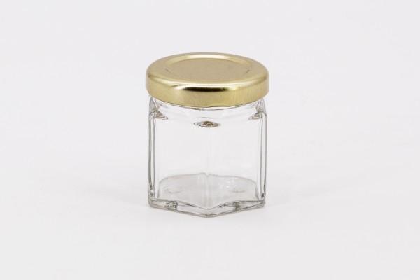 Sechseckglas 45 ml mit 43er gold
