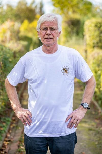 T-Shirt weiß mit Bienenlogo Größe L