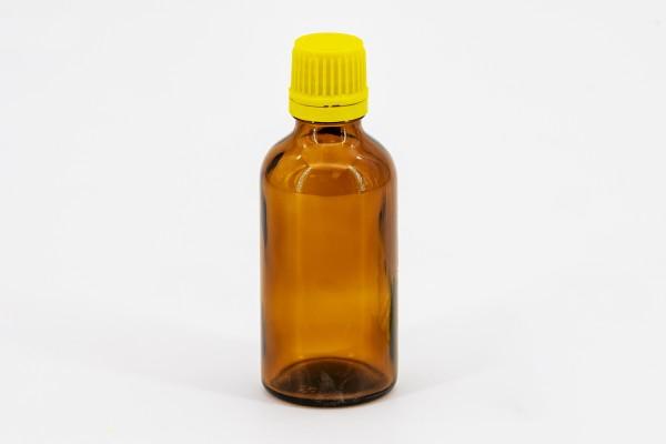 Braunflasche 50 ml mit gelber Tropfmontur