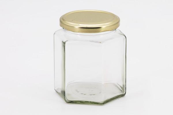 Sechseckglas 390 ml mit 70er gold