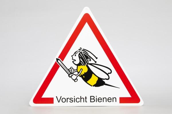 Dreieck Warnschild Biene mit Schwert
