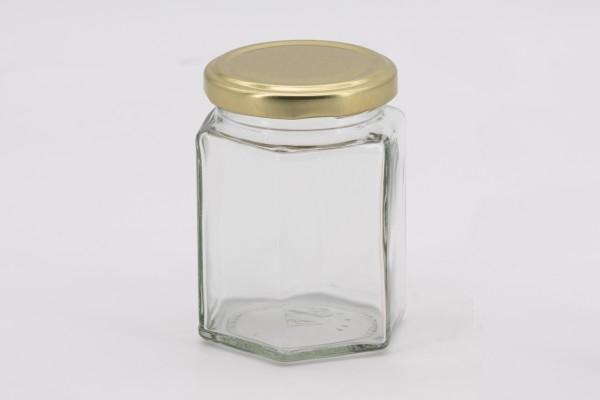 Sechseckglas 196 ml mit 58er gold