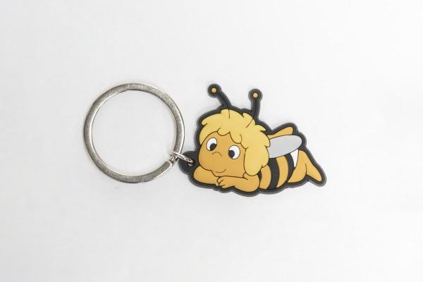 Schlüsselanhänger Biene liegend aus Gummi