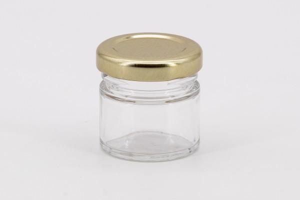 Rundglas 30 ml mit 43er gold