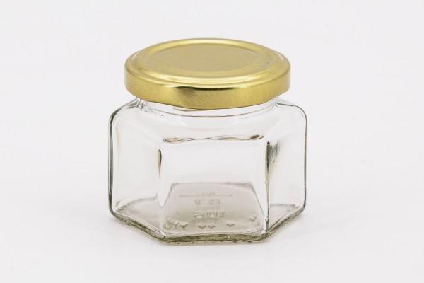 Sechseckglas 106 ml mit 53er gold