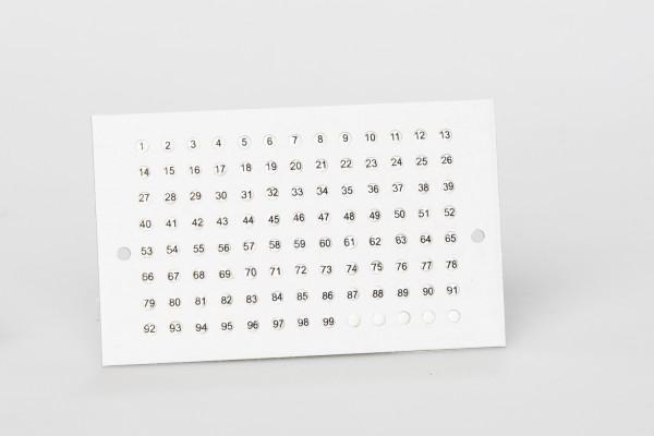 Opalith Einzelkarte Classic mit Nummern, weiß