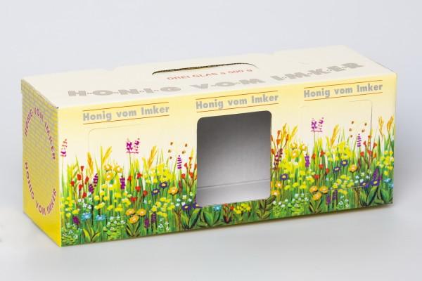 Geschenk-Karton Blumenwiese 3 x 500g