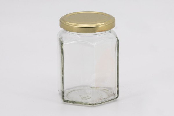Sechseckglas 288 ml mit 63er gold