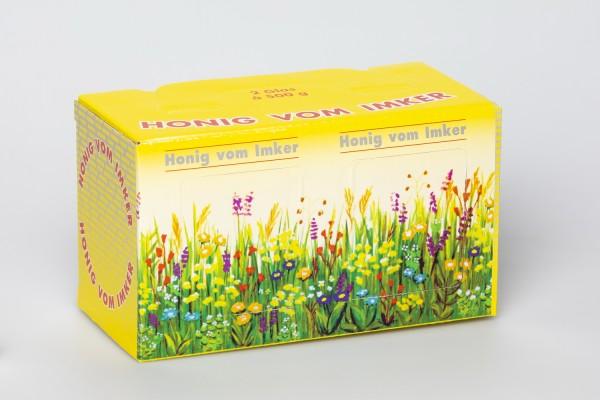 Geschenk-Karton Blumenwiese 2 x 500g